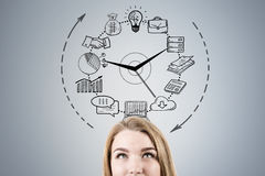 Free Close Up Of Woman Head And Business Clock Stock Photo - 86398600