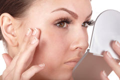 Free Close Up Of Woman  Looking Into Mirror. Royalty Free Stock Image - 15424466
