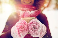 Free Close Up Of Woman With Tea Mug Outdoors In Winter Royalty Free Stock Image - 100210466