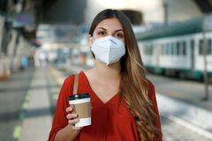 Free Close Up Of Young Business Woman With Face Mask Waiting Train Or Metro To Go To Work During Corona Virus Pandemic Royalty Free Stock Photography - 188117907