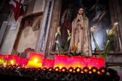 Church Candles Virgin Mary stock photos