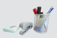 Close-up of office supplies over white background Royalty Free Stock Image