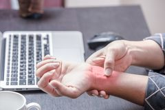 Carpal tunnel syndrome at left wrist stock photo