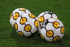 Close-up official UEFA EURO 2012 balls. KYIV, UKRAINE - OCTOBER 8, 2010: Close-up official UEFA EURO 2012 balls on the grass during friendly game between Ukraine Stock Image