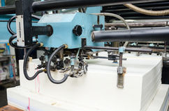 Close up of an offset printing machine during production Royalty Free Stock Image