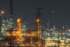 Close up of Oil and gas refinery plant at twilight. Royalty Free Stock Image