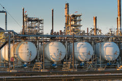 Close up of oil refinery at sunset royalty free stock images