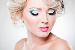 Close-up oka makijaż na pięknej kobiecie Obrazy Royalty Free
