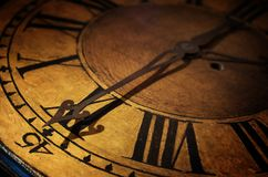 Close up old antique classic clock. Concept of time, history, sc royalty free stock images
