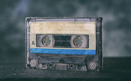 Close up of old audiocassette stock image