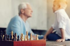 Close up of old beautiful wooden chess royalty free stock image