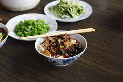Close-up of old Beijing sauced noodles Stock Photography