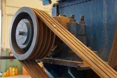 Close up , Old belt and pulley on the motor stock image