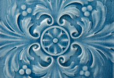 Old blue Ceramic Tile with Floral Pattern Royalty Free Stock Photo