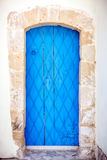 Close up of an old blue door. Stock Photography