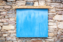Close up of an old blue wooden panel. Stock Photo
