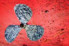 Close up of an old boat screw propeller Royalty Free Stock Photo