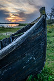 Close-up of old boat stranded on the shore. Vertical view of an Stock Image