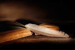 Old book with open pages and quill pen on wooden table. Close up of old book with open pages and quill pen on wooden table royalty free stock photos