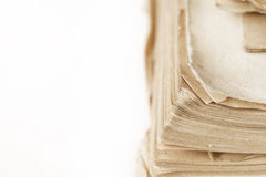 Close up of old book pages background with copy space Stock Photo