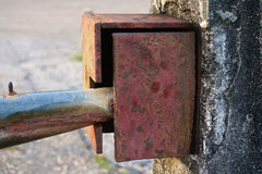 Close up old boundary gate lock for security Royalty Free Stock Photography