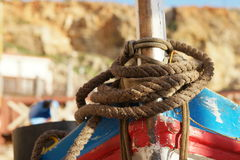 Close up Old Brown Rope Tie on a Boat Stock Photography