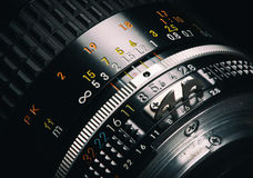 Close up of old camera lens Royalty Free Stock Images