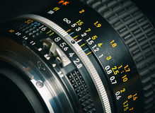 Close up of old camera lens. Macro Royalty Free Stock Photography