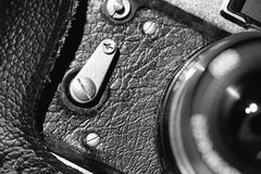 Close up of old camera Stock Photo