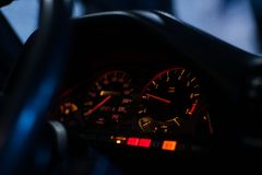 Close up of old car dashboard royalty free stock image