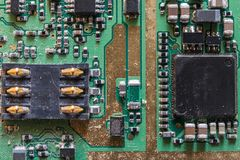Close up old chip. Smartphone parts. Cell phone repair stock images