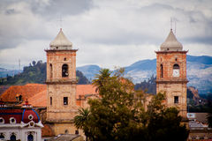 Close up of an old church at zipaquira colombia.  royalty free stock image