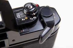 Close up of old classic 35mm slr camera Royalty Free Stock Photography