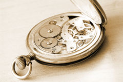 Close-up of old clock on vintage background Stock Photography