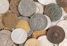 Close up of old coins. Stock Photo