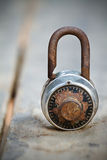 Close up of old combination padlock Royalty Free Stock Image