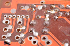 Close up of old computer circuit board Stock Photography