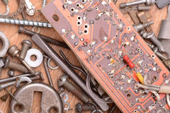 Close up of old computer circuit board. Grunge Stock Images