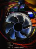 Close up of old computer cooling fan. royalty free stock image