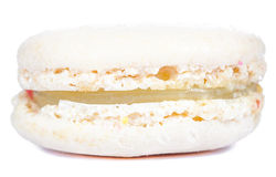 Close up old creamy white macaroon on white background. Stock Images