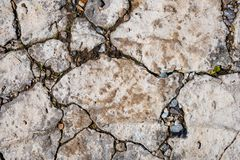 Old damaged concrete rough surface with cracks. Close up of old damaged concrete rough surface with cracks. Abstract texture background stock image