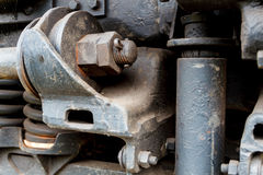 Close up of old diesel locomotive suspension stock photos