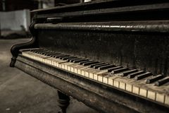 Close up of old dirty piano Royalty Free Stock Image