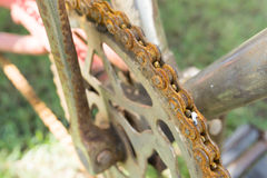 Close up of old dirty rusty bicycle chain Royalty Free Stock Photography