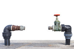 Close up old and dirty tap water valve missing meter on concrete Stock Photography