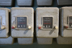 Close up old dusty digit counters Stock Image
