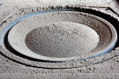 Close up of an old dusty speaker. Close up of an old speaker membrane covered with thick layer of gray dust Stock Images