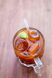 Close up of old fashioned ice lemon tea Royalty Free Stock Photography