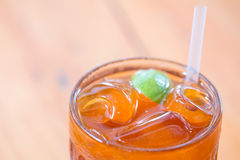 Close up of old fashioned ice lemon tea.  stock photography