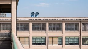 Close up of the old Fiat Factory building in Turin Italy built in the 1920s, recently renovated by Renzo Piano. Turin, Italy. Close up of the old Fiat Factory royalty free stock images